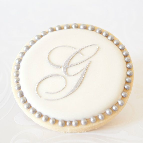 Silver Monogram Letter Wedding Cookie Favors // 1 doz. // Wedding Bridal Shower Vintage Script Initial Letter Personalized on Etsy, $42.50
