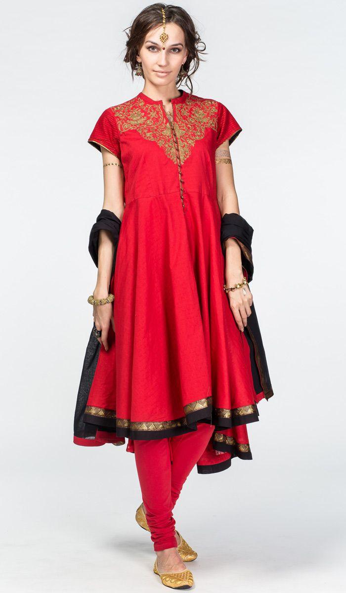 http://indiastyle.ru/products/pandzhabi-shunya Красный индийский костюм анаркали (панджаби, сальвар камиз). Вышивка ручной работы, хлопок. Indian anarkali, red panjabi, salwar kameez  18 200 рублей