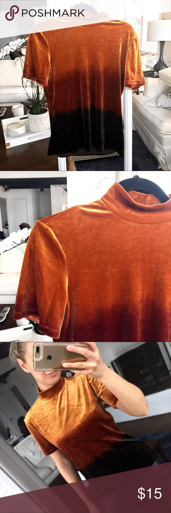 Orange Brown Ombré Turtleneck T-Shirt 🔥 Like brand new. Best for size medium if you wanted to be fitted looking. 90% polyamide and 10% elastase. Marks & Spencer Tops