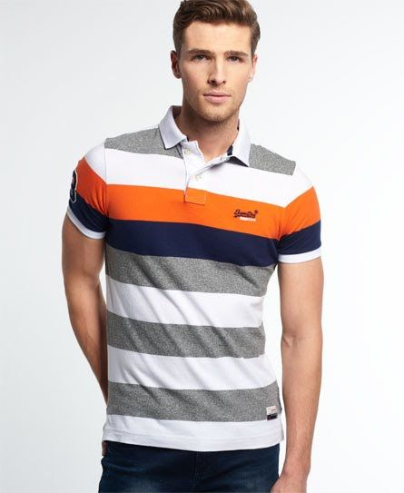 Superdry Duo Hoop Stripe Polo Shirt Orange