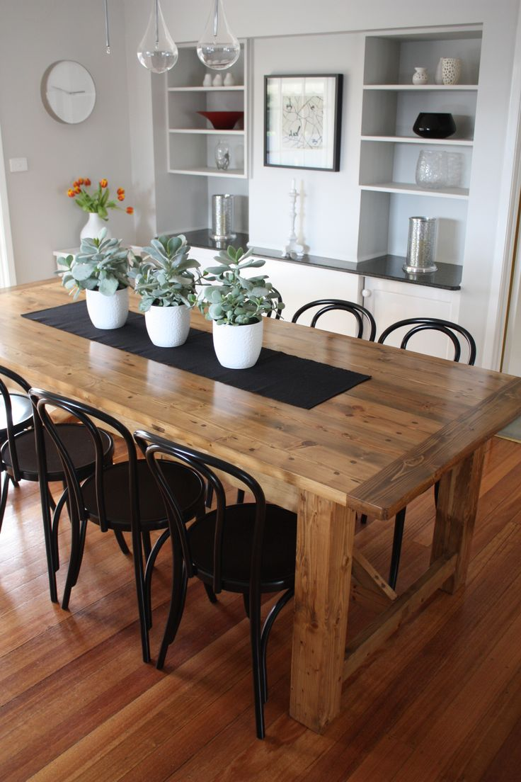 Well Made Modern Rustic Kitchen Tables With Black Metal Armless Chair Design