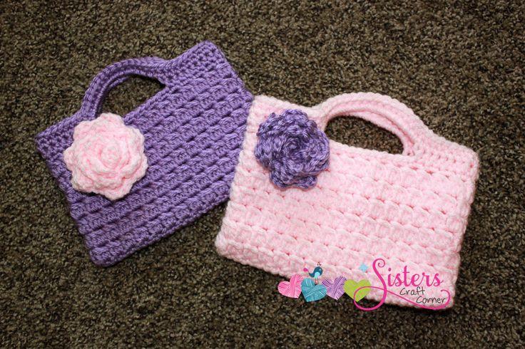 Small Crochet Handbag with Flower - Custom Purse - Custom Crochet Purse - Child Size Handbag - Little Girl - Flower Girl Purse - Party Bag