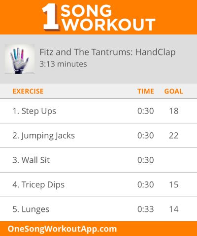 One Song Workout for Fitz and the Tantrums HandClap #fitness #exercise #workout