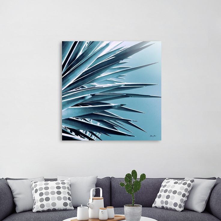 «Palm Rays - Duotone Teal and Black», Numbered Edition Acrylic Glass Print by Dominique Vari - From $85 - Curioos     #interiors #acrylic #wallart #walldecor #beautiful #tropical #foliage #palmleaves #palmtrees #yucca #teal #duotone #minimal #modern #timeless #dominiquevari #curioos