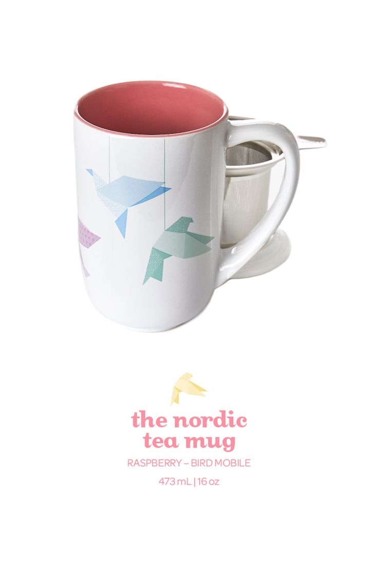 Start your day chirping with this cute bird-printed mug in soft raspberry.