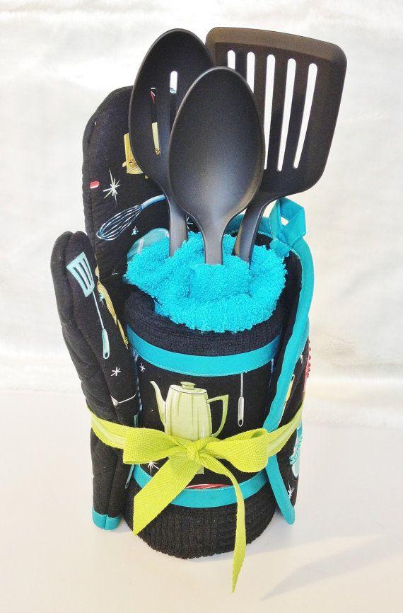 Housewarming Gift Set.  Hand-Made Pot Holder, Oven Mitt, Kitchen Towels and Black Utensils.  Kitchen Towel Cake.  Black,  Aqua Retro Theme.