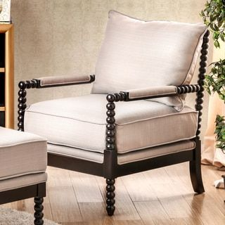Furniture of America Cenner Contemporary Beige Linen Espresso Accent Chair   Overstock.com Shopping - The Best Deals on Living Room Chairs