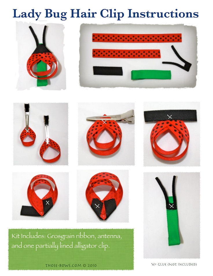 free ribbon sculpture hair clip instructions lady bug tutorial