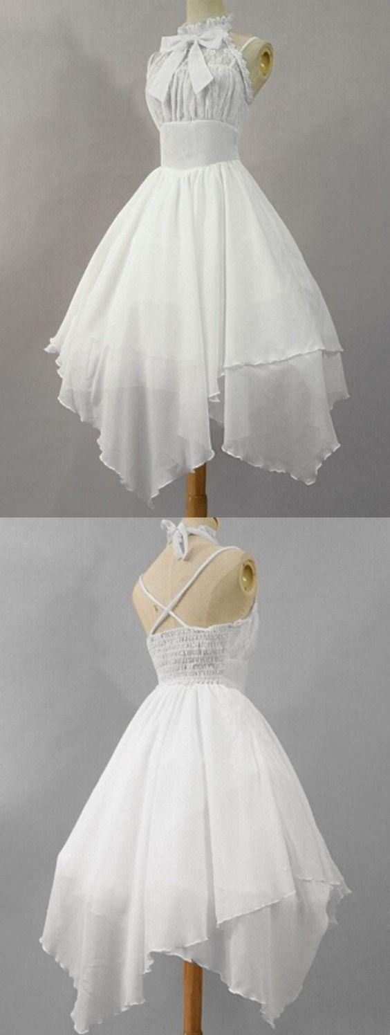 Asymmetrical Lace Panel Chiffon Dress
