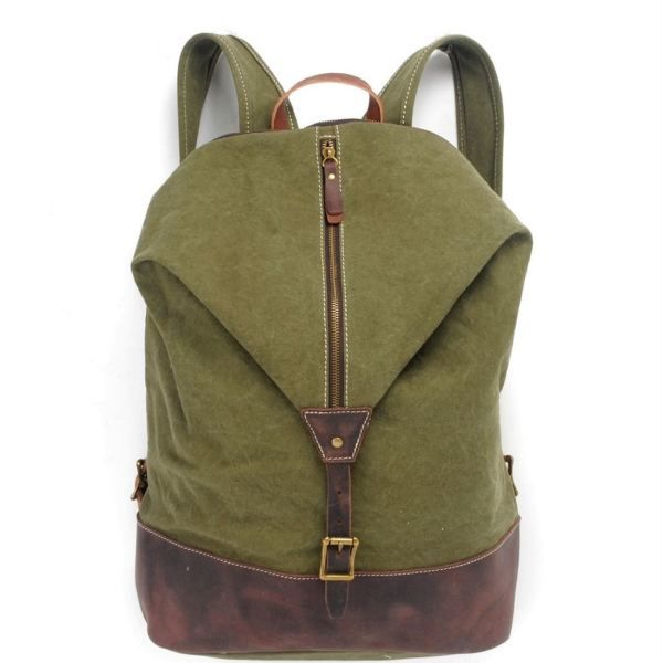 Canvas sports backpack bucket bag in green
