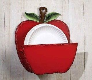 apple kitchen decor | Country Kitchen Red Apple Paper Plate Holder Home Decor - Racks ...