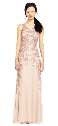 Adrianna Papell | Vine Beaded Dress with Illusion Back