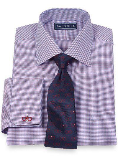 2 Ply Cotton Mini Grid Spread Collar French Cuff Dress