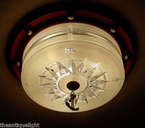 Details About Vintage Nautical Ceiling Light 1940s