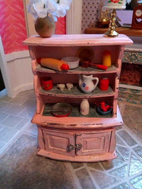 Shabby Chic Kitchen Cabinet Miniature Furniture Pinterest