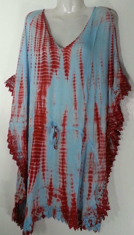 BLUE ISLAND COVER-UP / TUNIC TOP 3X 26-28 4X 30-32 PLUS SIZE BLUE RED NWT NEW #BLUEISLAND #COVERUPTUNIC #MULTIPURPOSE