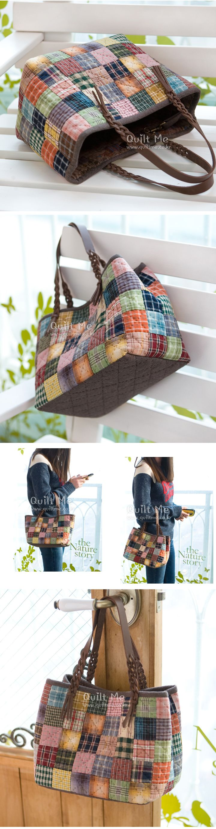 Nice bag, site is Korean, bag would be pretty easy to make without a pattern. http://www.quiltme.co.kr
