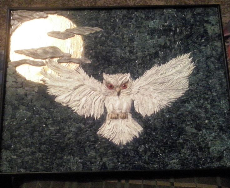 Mosaic by contemporary artist Jan Mcleod Northland NZ. Made with tempered glass an airdry clay