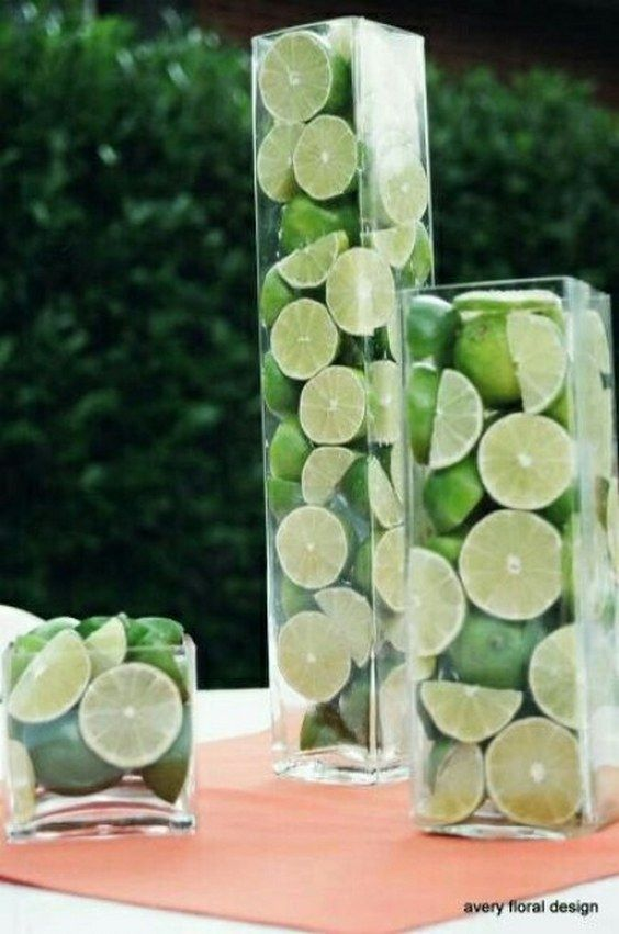 green lime wedding centerpiece / http://www.deerpearlflowers.com/fruit-wedding-ideas/3/