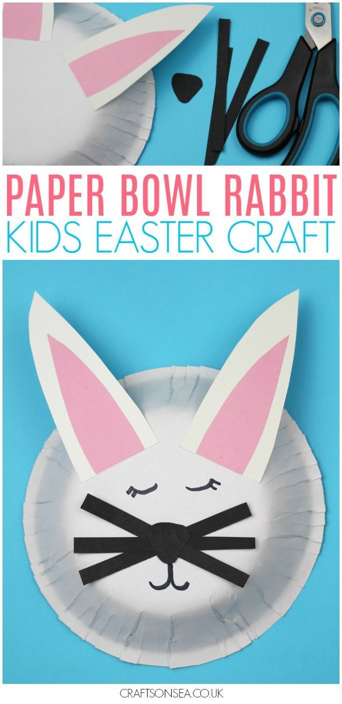 How cute is this paper bowl rabbit craft for kids? Perfect for Easter it's easy enough for preschoolers but sweet enough that older kids will enjoy making it too, the perfect bunny craft! #easter #kidscrafts #kidsactivities #bunny #preschool