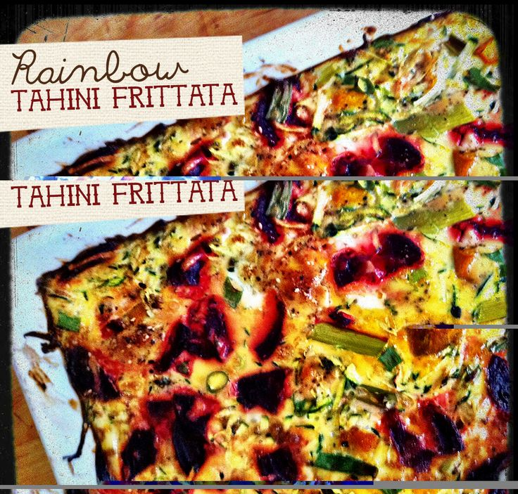 tahini frittata zucchini, pumpkin and beetroot (can be made without tahini)