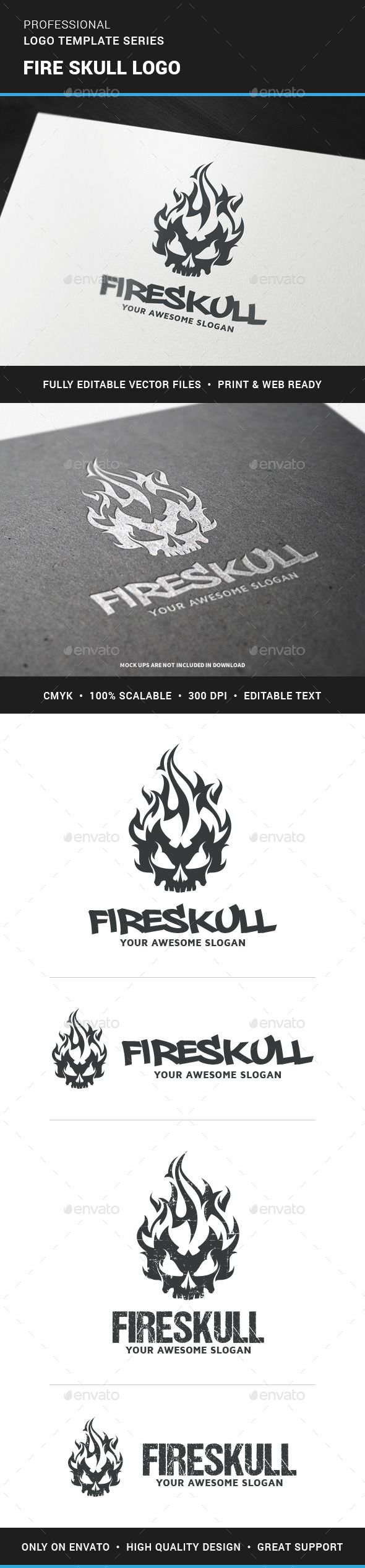 Fire Skull Logo Template