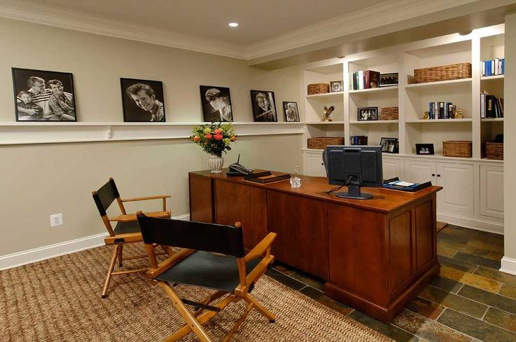 Simple Interior Design of Office with wooden table and artistic picture