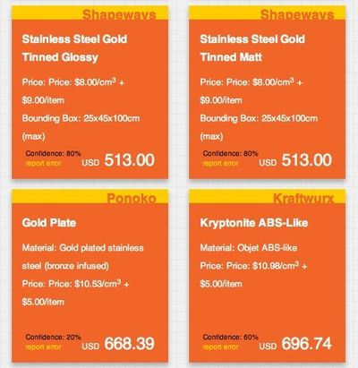 3D Printing PriceCheck: compare prices for 3d printing services by uploading your thing to this nifty, free service.