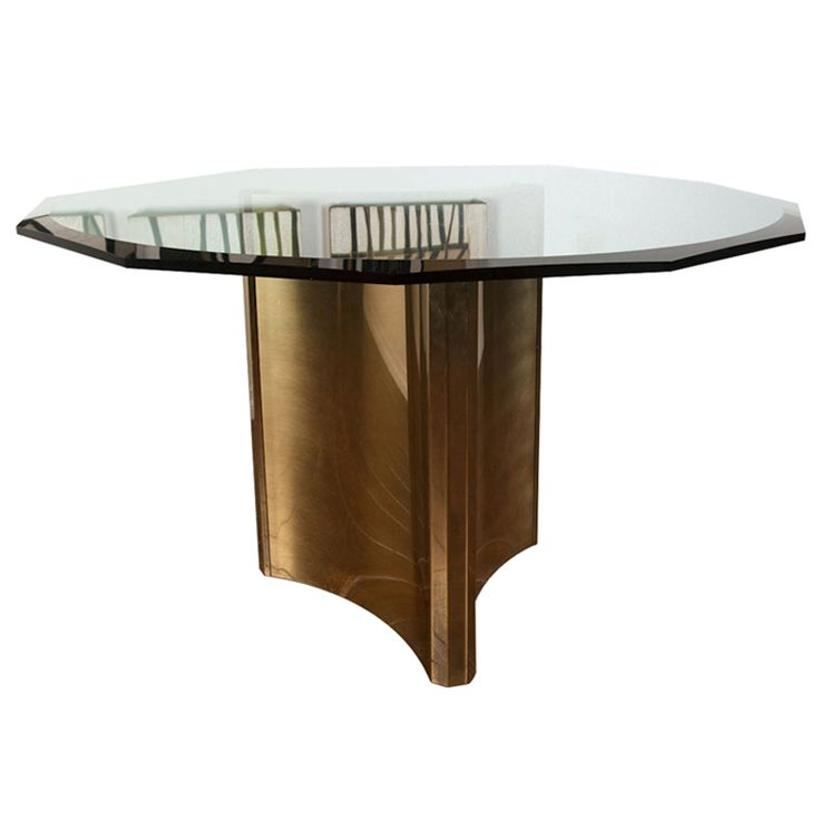 Mastercraft Furniture For Sale #27: View This Item And Discover Similar Dining Room Tables For Sale At - Luxurious Mastercraft Dining Table With A Brass Pedestal. Glass Has A Beautiful Beveled ...