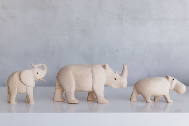 WILDLIFE. Cape Town artist Dennis Maguma carved these African wildlife figurines from jacaranda wood.