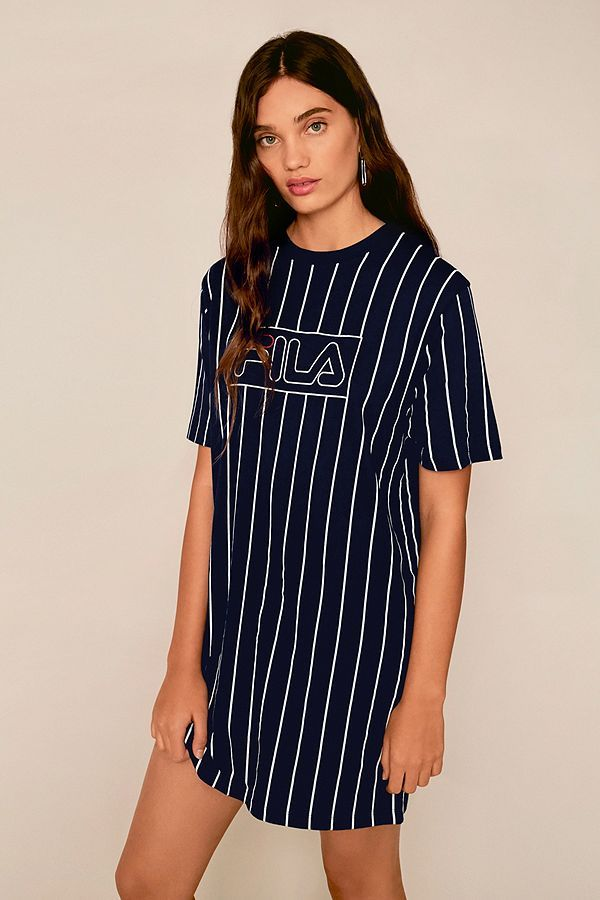 3b6f2d08c2b941 Slide View: 1: FILA Navy Vertical Stripe T-Shirt Dress | Style inspo ...