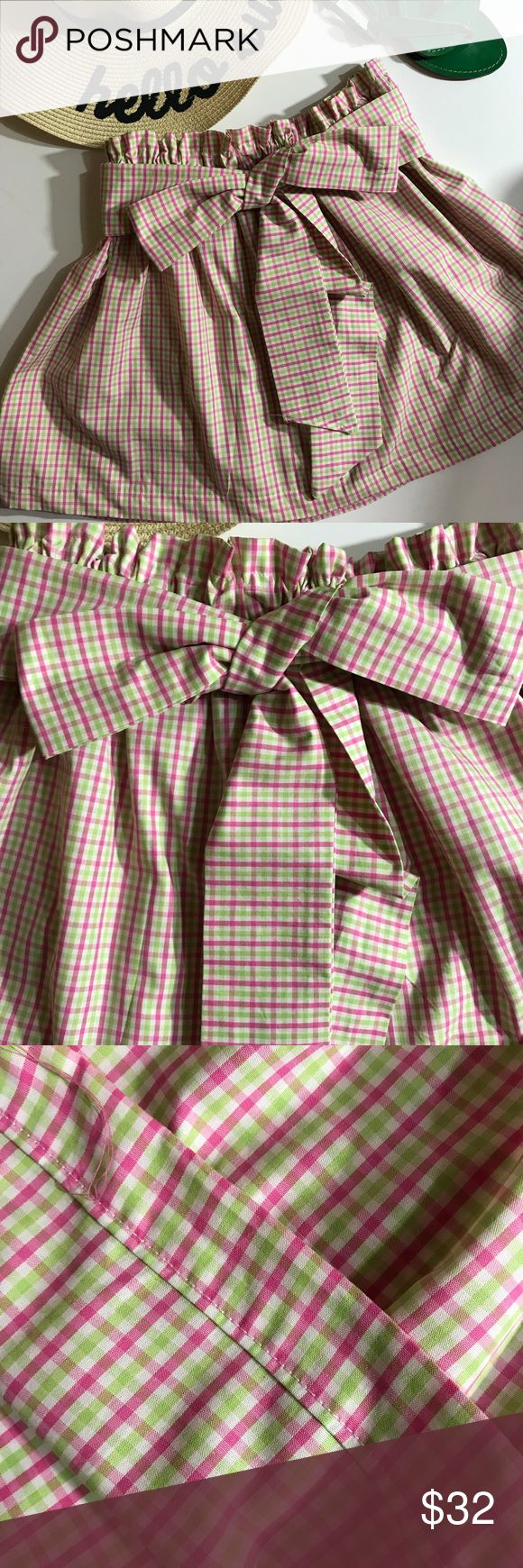 Pink & Green Skirt with Bow - Custom Sizes Beautiful custom pink and green gingham cotton skirt with detached tie belt.  Elastic waist.  Custom made from the finest cotton.  See size chart for fit. Garland Girl Skirts