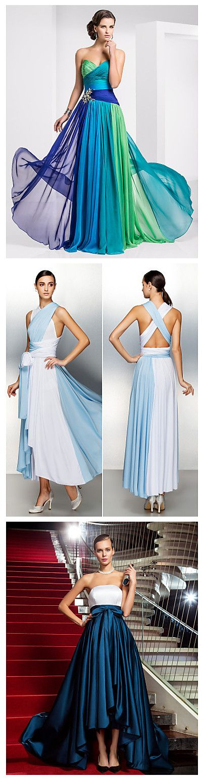 Tired of single color dresses? Try these ones with different colors combined perfectly! You never know how beautiful when the colors are put together, before you dress it! Ready to amaze somebody at an evening party? Check now!