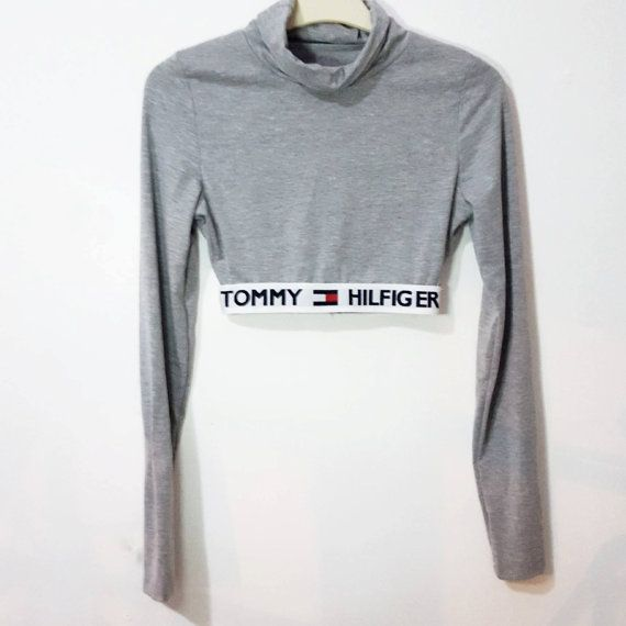 Reworked tommy hilfiger crop top turtleneck elastic band cotton black long  sleeve high neck ALL sizes