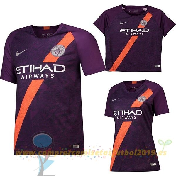 0f4e5db706f1c Nueva Replicas Tercera Camiseta Manchester City 2018 2019 Purpura(Mujer +Niños)
