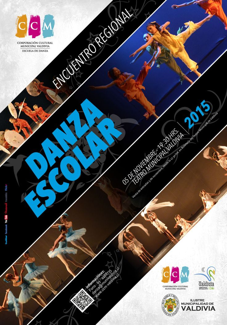 Afiche Encuentro Regional de Danza Escolar 2015. Escuela de Danza de Valdivia.
