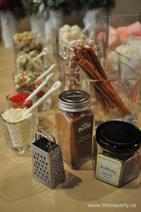 Hot Chocolate Bar cinnamon &powdered sugar in shakers  and cinnamon stick stirrers!