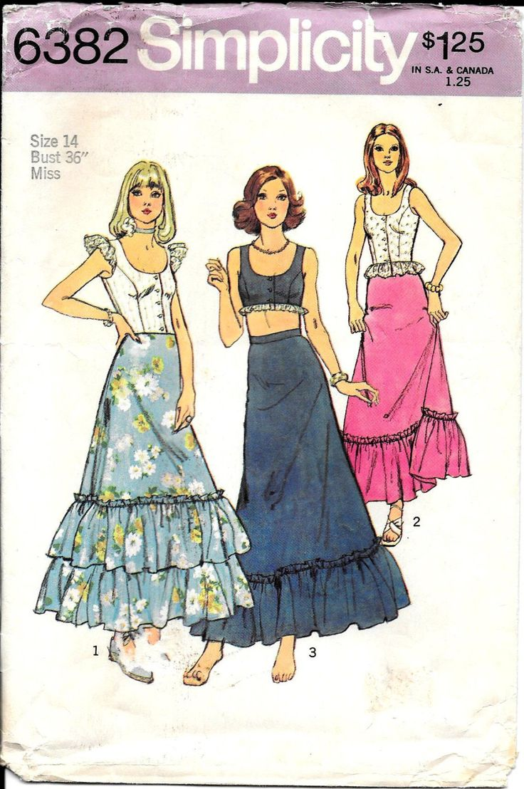 Short Top Long Skirt Pattern Fitted Sleeveless Crop Boho Hippie Flower Child Simplicity 6382 Sz 14 by WildPlumTree on Etsy