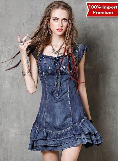 Denim Dress Import Premium 597PR  | shopasista.com | Distributor baju import | distributor baju korea | grosir baju korea | grosir baju import | supplier baju korea tangan pertama | importir baju korea