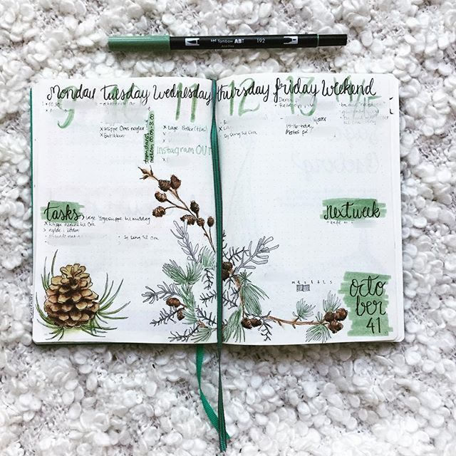Hi everyone! I'd like to share this weeks spread again. I often make changes and scribbles during the week, and this week I think the spread looks soo much better! The difference is just some color green behind the words: tasks, next week and October 42. What do you think? Better or not? (Sorry about the blurred stuff, but I don't want to share my whole life with the world ) Tip: I use an app called Blur Photo, to blur stuff out. The green is the Tombow 192, which I LOVE! ❤️ • •…