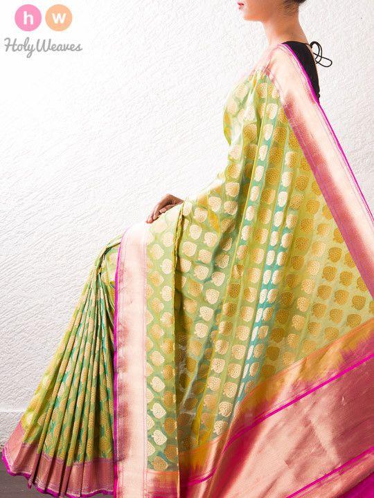Green Zari Brocade Silk Saree – HolyWeaves