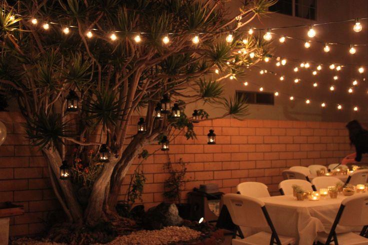 Backyard Party Decorations - Target Globe Lights, Ikea Lanterns