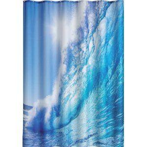 DUSCHVORHANG OCEAN 180cm breit x 200cm lang Textil ohne Ringe BLAU Welle Wasser shower curtain