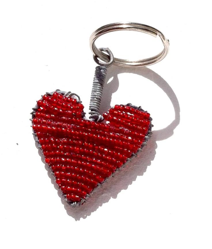 Red Heart beaded keyring