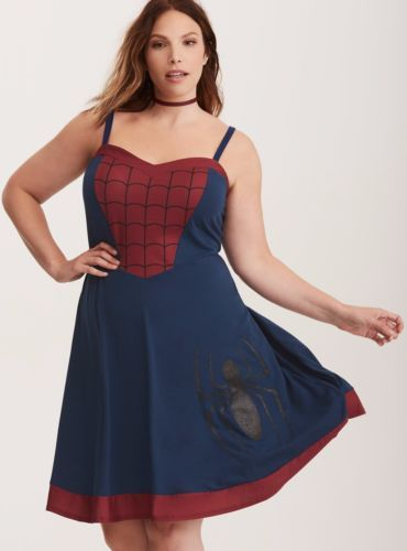 0157cde1919 Womens-Marvel-Spiderman-Skater-Dress-Plus-Sizes-M-L-XL-2XL-3XL-4XL-5XL-6XL