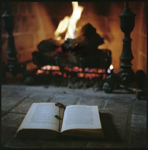 A book by the fire