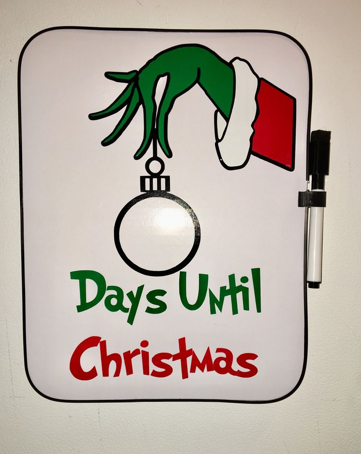 Grinch Christmas Countdown Board, Merry Christmas Decor, Kids Xmas Gift, Dry Erase, Days Until Christmas