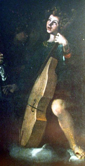 ♪ The Musical Arts ♪ music musician paintings - Artist Unknown   Spanish Viola da gamba of the 17th C. (Valencia, Museum)
