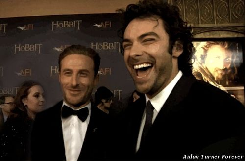 Dean O'Gorman and a laughing Aidan Turner at the New York premiere of The Hobbit to benefit AFI.
