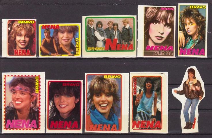 NENA GERMANY MUSIC 10 RARE BRAVO SMALL VINTAGE OLD STICKERS R17083